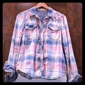 GAP 1969 Plaid Flannel Blue/Pink/Cream Button Down